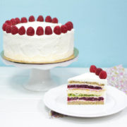 Фисташково-малиновый торт